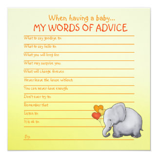 Neutral Elephant Baby Shower Advice for Baby Card