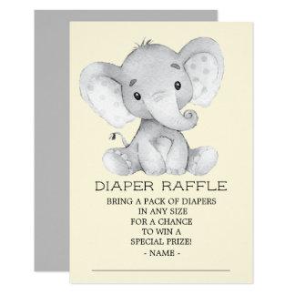 Neutral Elephant Baby Shower Diaper Raffle Ticket Card