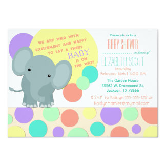 Neutral Elephant Baby Shower Invitation