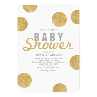 Neutral Faux Gold Glitter White Baby Shower Invite
