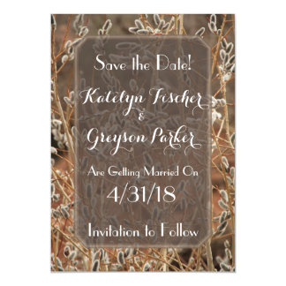 Neutral Floral Magnetic Save the Date Magnetic Card