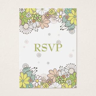 Neutral Flower Garden Wedding RSVP Cards
