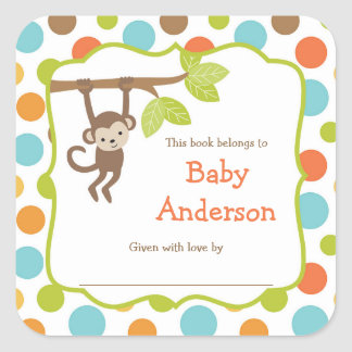 Neutral Gender Monkey Baby Bookplates Square Sticker