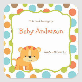 Neutral Gender Tiger Baby Bookplates Square Sticker