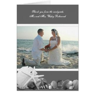 Neutral Gray Seashells Photo Thank You Card