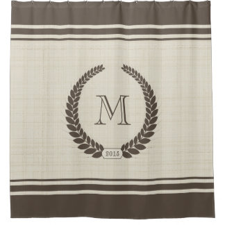 Neutral Linen and Cocoa Style Fancy Monogram Shower Curtain