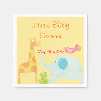 Neutral Mod Animal Baby Shower Disposable Napkin