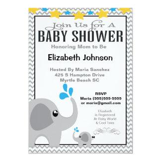 Neutral Mom & Baby Elephant Baby Shower Invitation