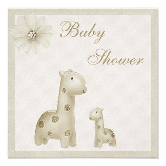 Neutral Mom & Baby Giraffes Vintage Baby Shower 13 Cm X 13 Cm Square Invitation Card