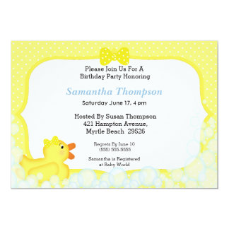 Neutral Rubber Ducky Baby Shower Invitations