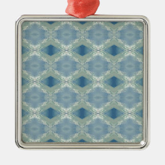 Neutral Shades of Blue Gray Pattern Metal Ornament