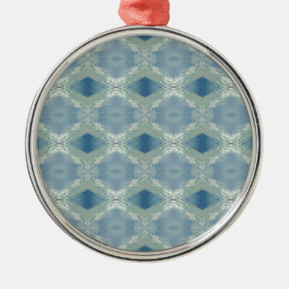 Neutral Shades of Blue Gray Pattern Silver-Colored Round Decoration