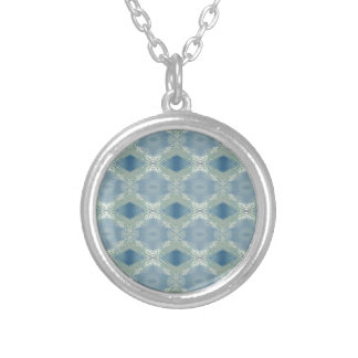 Neutral Shades of Blue Gray Pattern Silver Plated Necklace