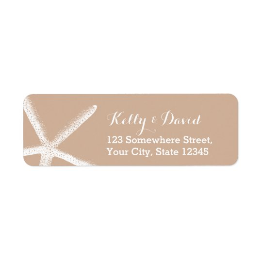 Neutral Starfish Beach Wedding Return Address Return Address Label