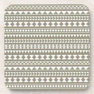 Neutral Stone Gray Aztec Tribal Pattern Drink Coasters