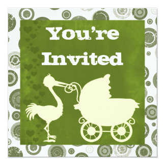 Neutral Stork and Carriage Baby Shower Invitation