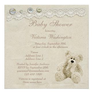Neutral Teddy Bear Vintage Lace Baby Shower Custom Invites
