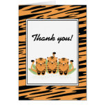 Neutral Tiger Triplets Baby Shower Thank You Note Card