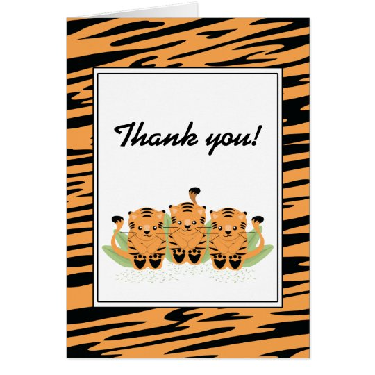Neutral Tiger Triplets Baby Shower Thank You Card