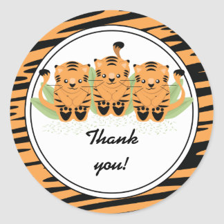 Neutral Tiger Triplets Baby Shower Thank You Round Classic Round Sticker