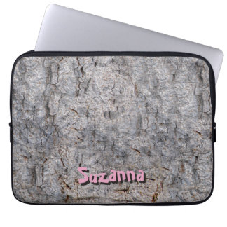Neutral Tropical Tree Bark Photo with Custom Name Laptop Sleeve