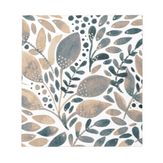 Neutral watercolor leaves notepad