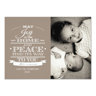 Neutral White Typography Christmas Photo Card Personalized Invite