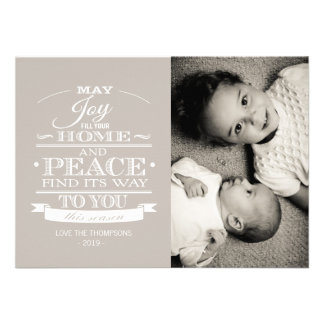Neutral White Typography Christmas Photo Card