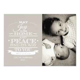 Neutral White Typography Christmas Photo Card Custom Invite