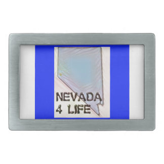 """Nevada 4 Life"" State Map Pride Design Rectangular Belt Buckles"
