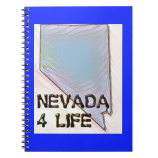 """Nevada 4 Life"" State Map Pride Design Spiral Notebook"