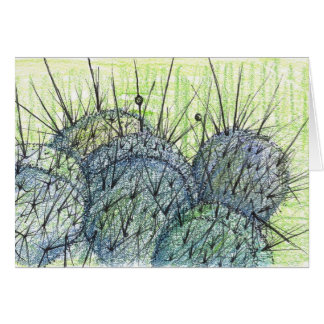 Nevada Desert Cactus Plant Drawing Card