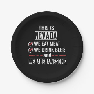 Nevada Eat Meat Drink Beer Awesome Paper Plate