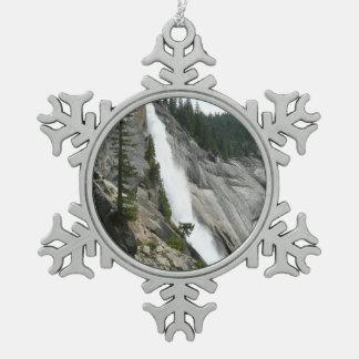 Nevada Falls at Yosemite National Park Pewter Snowflake Decoration