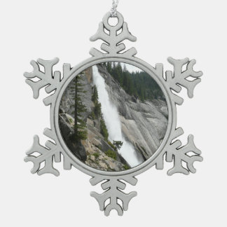 Nevada Falls at Yosemite National Park Snowflake Pewter Christmas Ornament