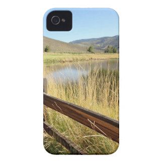 Nevada landscape with wood fence, lake, sky. iPhone 4 cover