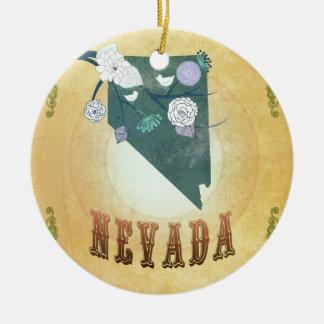 Nevada Map With Lovely Birds Round Ceramic Decoration