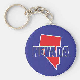 Nevada State Basic Round Button Key Ring