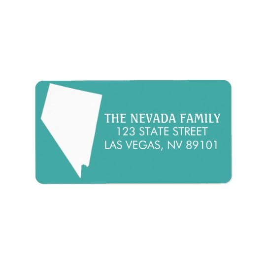 Nevada State Return Address Labels - Turquoise