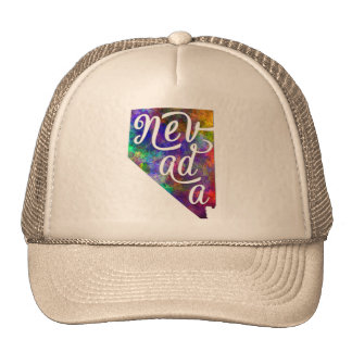 Nevada U.S. State in watercolor text cut out Cap
