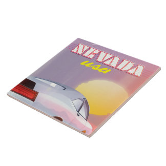 Nevada USA Setting sun sports car Ceramic Tile