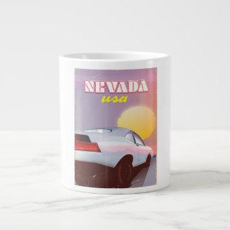 Nevada USA Setting sun sports car Large Coffee Mug
