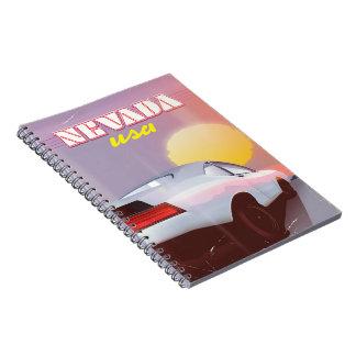 Nevada USA Setting sun sports car Notebook