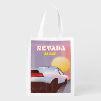 Nevada USA Setting sun sports car Reusable Grocery Bag
