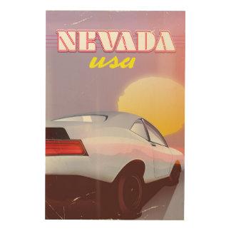 Nevada USA Setting sun sports car Wood Wall Art