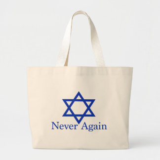 Never Again Jewish Holocaust Remembrance Large Tote Bag