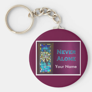 Never Alone Holy Spirit Window Basic Round Button Key Ring