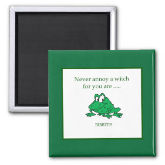 Never annoy a witch square magnet