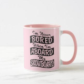 Never BOARD ABOARD my SNOWBOARD (Blk) Mug