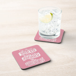 Never BORED ABOARD my SURFBOARD (Wht) Beverage Coaster
